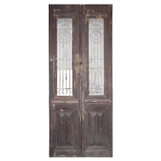 "Pair of 37"" Antique French Colonial Doors with Iron Inserts"