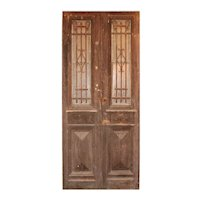 """Antique Pair of 42"""" French Colonial Doors with Iron Inserts"""