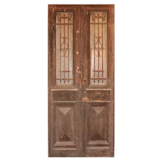 "Antique Pair of 42"" French Colonial Doors with Iron Inserts"
