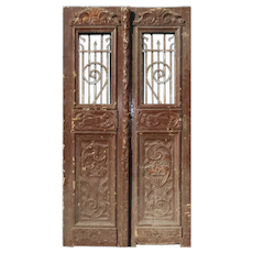"Salvaged Pair of Antique 42"" French Colonial Doors with Iron Inserts"