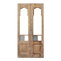 "Antique 41"" Double Doors with Gothic Arch Windows"