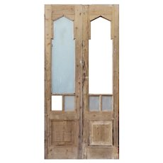 """Reclaimed 41"""" Double Doors with Gothic Arch Windows"""