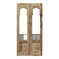 "Salvaged 41"" Double Doors with Gothic Arch Windows"