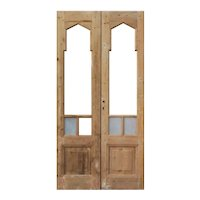"Antique Reclaimed 41"" Double Doors with Gothic Arch Windows"