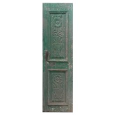 """Salvaged 25"""" French Colonial Door with Carved Panels"""