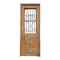 """Antique 32"""" French Colonial Door with Iron Insert"""