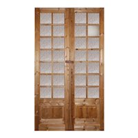 "Pair of Salvaged 53"" French Double Doors with Glass"
