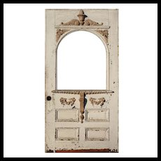 """Reclaimed Antique 41"""" Eastlake Door with Arched Window, Late 19th Century"""