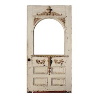 "Reclaimed Antique 41"" Eastlake Door with Arched Window, Late 19th Century"