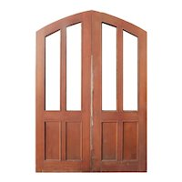 """Substantial Pair of 76"""" Arched Antique Double Doors"""