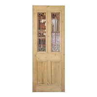 """Salvaged 32"""" French Colonial Door with Iron Inserts"""