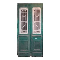 """Antique Pair of 43"""" French Colonial Doors with Iron Inserts"""