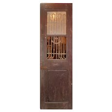 """Reclaimed 24"""" French Colonial Door with Iron Insert, c. 1880's"""