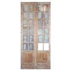 """Pair of Salvaged 48"""" French Double Doors with Windows"""