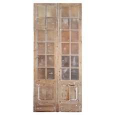 """Antique Pair of 49"""" French Double Doors with Windows"""