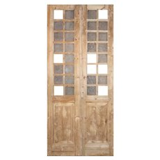 """Antique Pair of 43"""" French Double Doors with Windows"""