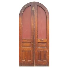 """Salvaged Pair of 46""""Arched Chestnut Doors, Early 1900s"""