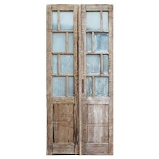 """Pair of Reclaimed 40"""" French Double Doors with Textured Glass"""
