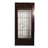 Stunning Salvaged Oak Door with Beveled & Leaded Glass, Early 1900's