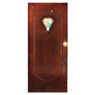 "Salvaged Art Deco 36"" Door with Stained Glass"