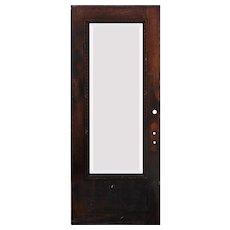 "Reclaimed Antique 34"" Oak Door with Beveled Glass, Egg-and-Dart"