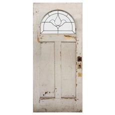 "Salvaged Antique 36"" Door with Leaded & Beveled Window"