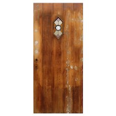 "Reclaimed 36"" Plank Door with Stained Glass Speakeasy"