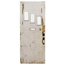 "Salvaged 34"" Plank Door with Beveled Glass"