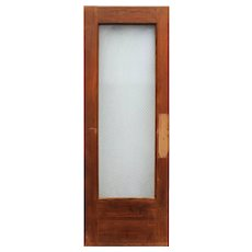 "Salvaged 30"" Door with Original Wire Glass, Early 1900s"