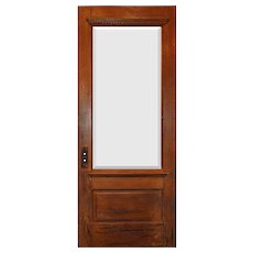 "Salvaged 34"" Door with Beveled Glass, Egg-and-Dart"
