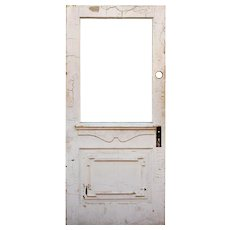 """Salvaged 34"""" Door with Carved Details, Early 1900s"""