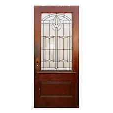 """Reclaimed 36"""" Oak Door with Beveled and Leaded Glass"""