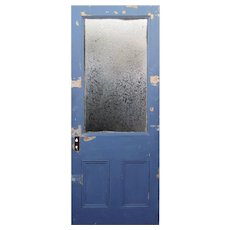 """Salvaged 33"""" Door with Glue Chip Glass, Early 1900s"""