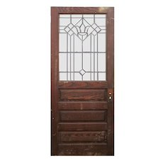 """Salvaged 34"""" Oak Door with Beveled and Leaded Glass"""