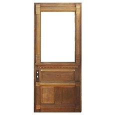 "Reclaimed 36"" Stripped Eastlake Door with Carved Details"