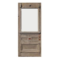 """Salvaged 36"""" Stripped Eastlake Door with Carved Details"""
