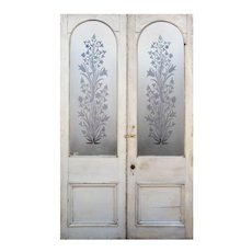 """Salvaged 58"""" Door Pair with Acid-Etched Glass, Flowers"""