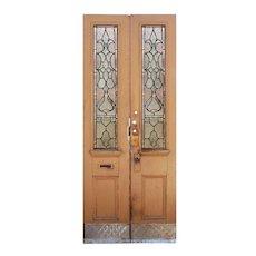 """Reclaimed 40"""" Door Pair with Sun Purple Glass, Fleur-De-Lis"""