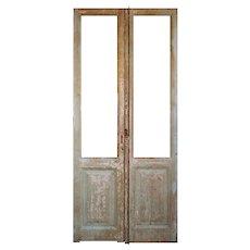 """Reclaimed 40"""" Door Pair with Original Wavy Glass"""