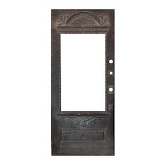 """Salvaged Antique 36"""" Door with Carved Detail, C. 1890"""