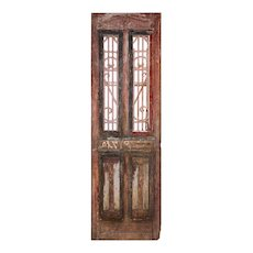 """Salvaged 30"""" French Colonial Door with Iron Panels"""