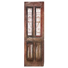 "Salvaged 30"" French Colonial Door with Iron Panels"