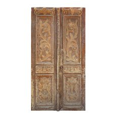 Salvaged French Colonial Solid Wood Door Pair, Carved Foliates