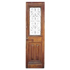 """Reclaimed 28"""" French Colonial Door with Iron Insert"""