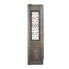 "Salvaged 27"" French Colonial Door with Iron Insert"
