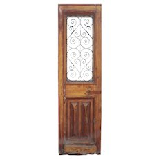 "Salvaged 28"" French Colonial Door with Iron Insert"