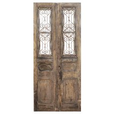 Salvaged Pair of Antique French Colonial Doors with Iron Inserts