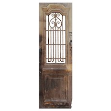 "Salvaged 29"" French Colonial Door with Iron Insert"