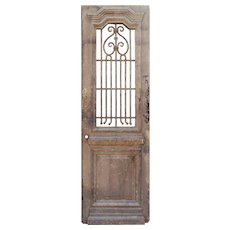 "Reclaimed 29"" French Colonial Door with Iron Insert"
