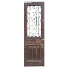 "Salvaged 30"" Antique Door with Iron Insert, 19th Century"